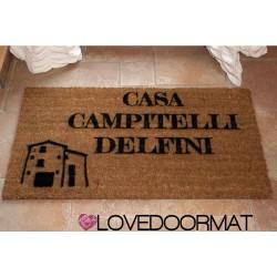 Paillasson d'intérieur personnalisé - Nom de votre maison ou ferme - noix de coco naturelle cm. 100x50x2 LOVEDOORMAT Marque déposée à la main en Italie