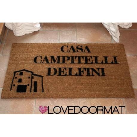 Custom indoor doormat - Your House or Farmhouse Name - in natural coconut  LOVEDOORMAT Registered Trademark Handmade in Italy