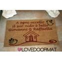 Custom indoor doormat - Beautiful nest and your text - in natural coconut cm. 100x50x2 LOVEDOORMAT Registered Trademark Handmade in Italy