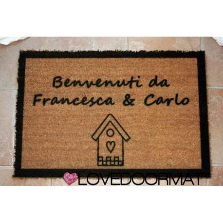 Custom indoor doormat - House, Borders and Your Text - in natural coconut LOVEDOORMAT Registered Trademark Handmade in Italy