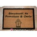 Custom indoor doormat - House, Borders and Your Text - in natural coconut cm. 100x50x2 LOVEDOORMAT Registered Trademark Handmade in Italy