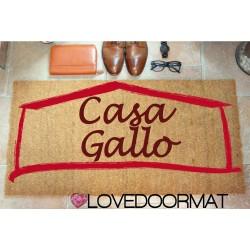 Paillasson d'intérieur personnalisé - Votre nom Votre maison - noix de coco naturelle cm. 100x50x2 LOVEDOORMAT Marque déposée à la main en Italie