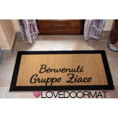 Custom indoor doormat - Borders, Welcome- in natural coconut LOVEDOORMAT Registered Trademark Handmade in Italy