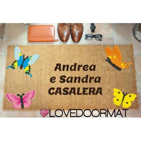 Custom indoor doormat - Butterflies and Your Text - in natural coconut LOVEDOORMAT Registered Trademark Handmade in Italy