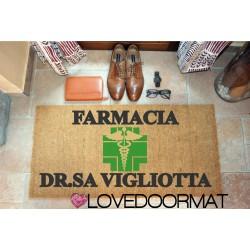 Personalized Doormat - Pharmacy Studio - internal use, in natural coconut cm. 100x50x2 LOVEDOORMAT Registered Trademark Handmade in Italy